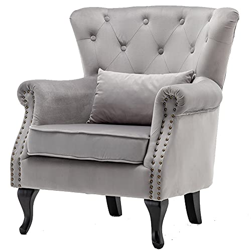 Upholstered Wing Back Armchair for Living Room Bedroom Velvet Accent Chair Single Sofa Side Chair with Wood Leg Tub Chair (light grey)