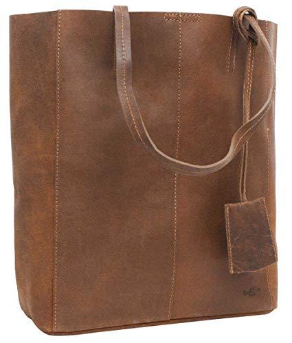 Gusti Handtasche Leder Damen Herren groß - Cassidy Shopper Ledertasche Umhängetasche 13L Tasche Braun