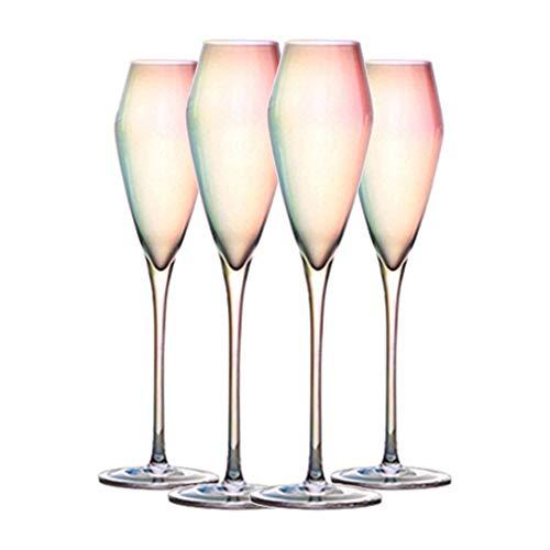 Copa De Vino Única Novedosa Copa De Champán con Burbujas De Arco Iris Copa De Cristal De Tulipán, Cumpleaños, Aniversario, 220 Ml (Color : Clear, Size : 7.5 * 27cm*4)