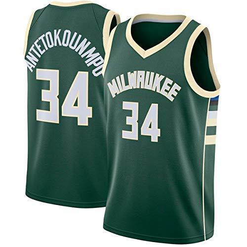 WOLFIRE WF Maglia da Basket per Uomo, NBA, Milwaukee Bucks #34 Giannis Antetokounmpo. T-Shirt per Ricamo, Traspirante e Resistente all'Usura Canotta Jersey (Verde, M)
