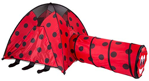 Pacific Play Tents Kids Lady Bug Dome Tent and Crawl Tunnel Combo for Indoor / Outdoor Fun