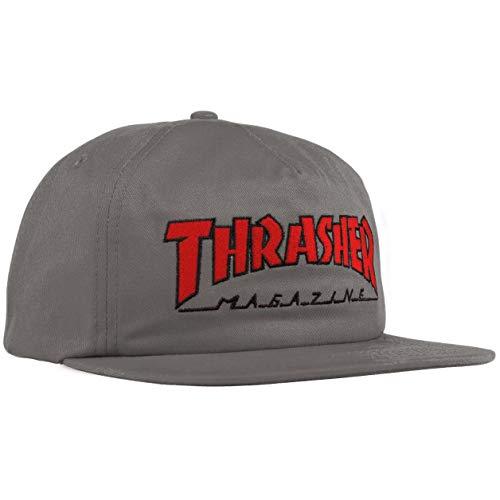 Thrasher - Gorra con diseño de sombrero, color gris y rojo