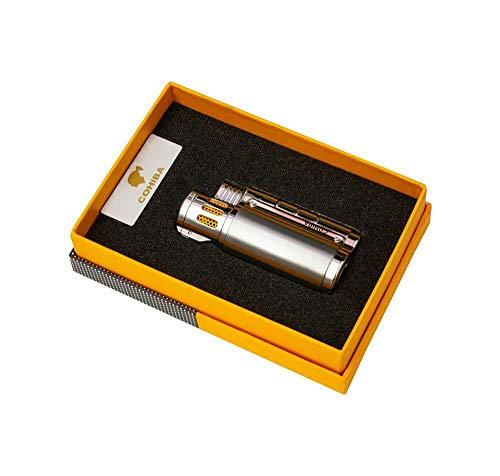 thecigarholder TCHCIGARS Feuerzeug Gas Feuerzeug Zigarettenanzünder DREI Taschenlampe Jet Blaue Flamme Silber mit Zigarrenstanzer