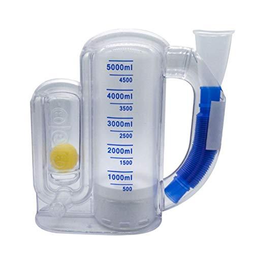 BSTOB Dispositivo de entrenamiento respiratorio, Dispositivo de entrenamiento de espirometría de 3000 ml / 5000 ml, Entrenador de respiración,niños Dispositivo de entrenamiento de respiración pulmonar