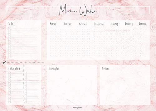 Montagsliebe® Schreibtischunterlage Rosa Marmor XXL DIN A2 Papier zum Abreißen 52 Wochen