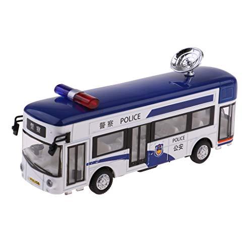 B Blesiya Escala 1/50 Diecast Coche Juguete Modelos Bus Autobús Blanco Azul Regalo Adorno para Niños