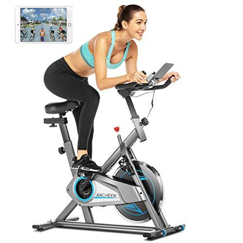 ANCHEER Heimtrainer,Indoor Fitnessbike Fahrrad Riemenantriebssystem mit APP-Anschluss,einstellbarem Widerstand,LCD-Monitor,Telefonhalter,Bequemem Kissen und leisem Cardio-Training im Fitnessstudio