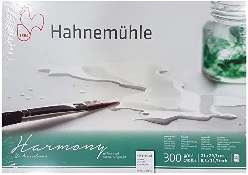 Hahnemühle Aquarellkarton Harmony, satiniert, 300 g/m², 21 x 29,7 cm, 12 Blatt.Made in Germany