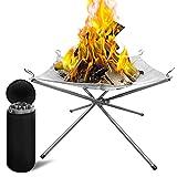 ZXNQ Brasero portátil al Aire Libre en Cuencos de Fuego Plegables de Malla de Acero Inoxidable - para Camping Barbacoa Jardín Patio - 42 * 42 * 34CM