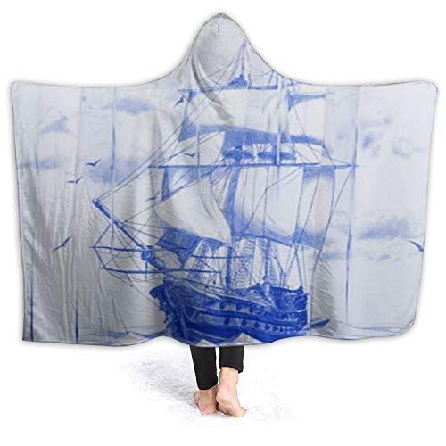 HATESAH Tragbare Hoodie Decke,Nautical Pirate Blue Segelboot Kids Ocean,Umhang...