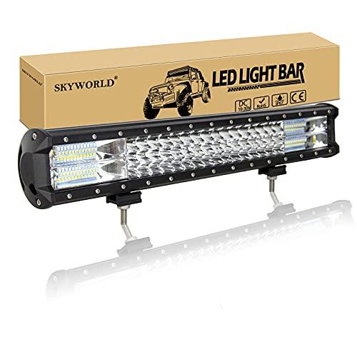 SKYWORLD 20 pouces barre lumineuse de 288W LED, barre combinée combinée de barre d'inondation de la rangée LED de 12V-24V 6000K lignes de conduite tout-terrain pour 4x4 camion ATV UTV SUV