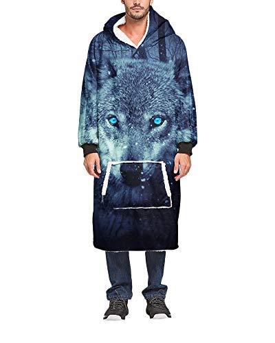 Übergroße Tierdruck Hoodie Sweatshirt Decke Weiche Warme Flauschig Plüsch Pullover mit Kapuze Kapuzenpullover Wearable TV-Decke Lässige Homewear mit Fronttasche für Männer Frauen 30 Einheitsgröße