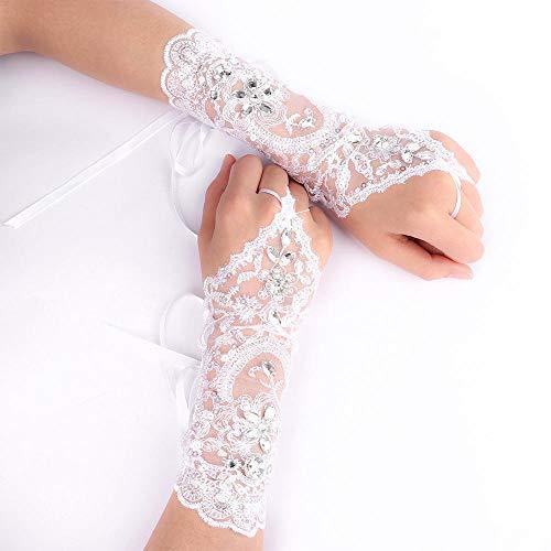 GBSTA Vingerloze Handschoenen Trendy Bruid Wit Korte Handschoenen Jurk Kralen Strass Kant Vingerloze Handschoenen Voor Bruiloften