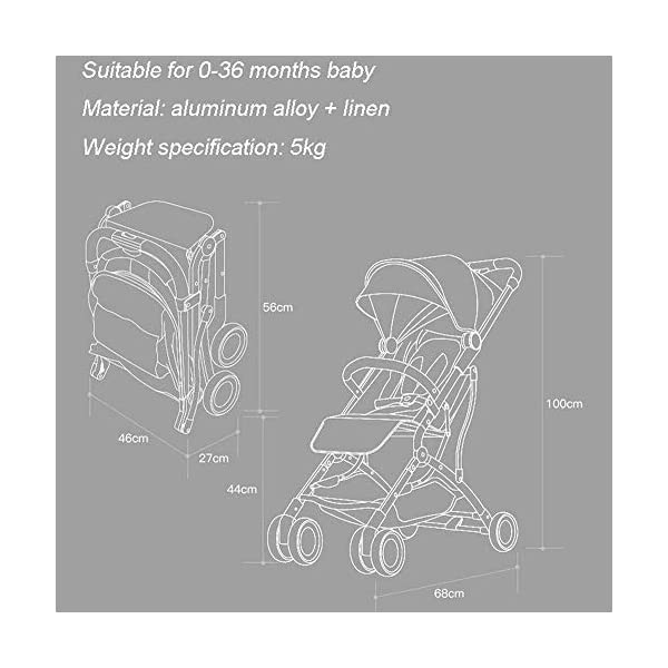LAMTON Baby Stroller for Newborn, Pushchair Lightweight Stroller One Hand Fold Travel Buggy,46x68x100cm (Color : Gray) LAMTON Adjustable handlebars for people of all heights can adjust the most comfortable push position Easy to fold, can be picked up in the trunk of the car, his parents urge him to go shopping, travel, walk, play and talk, or picnic outdoors ★ Carbon steel frame, sturdy, lightweight, durable, easy to store and travel 4