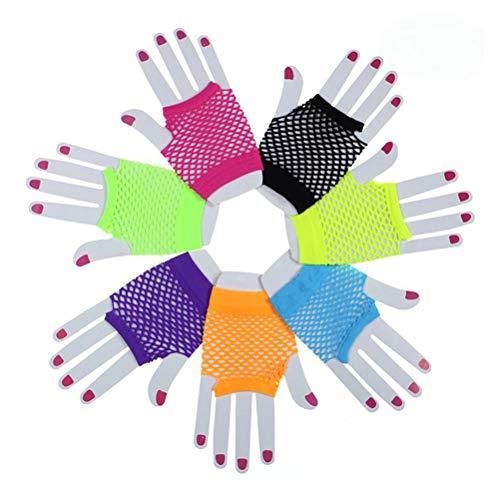guanti emo LIOOBO 10 Paia Anni 80 Costume Guanti Senza Dita in Pizzo Guanti a Rete Senza Dita al Neon per Matrimonio 80 Fancy Favors Party (Colore Casuale)