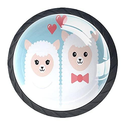 Dibujos animados Alpaca pareja amor blanco azul gabinete maneja 4 piezas 35 mm cajón asas para gabinete de cocina tocador gabinete armario armario