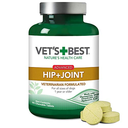 Vet's Best Advanced Hip & Joint Dog Supplements | Formulated with Glucosamine and Chondroitin to Support Dog Joint and Cartilage Health | 90 Chewable Tablets, 90 Tablets