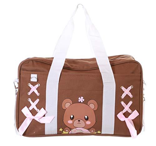 LB-209-2 Braun Messenger Bag Kult Japan Sportbeutel Schultasche Lolita Anime Harajuku Pastel Goth Umhänge-Tasche Kawaii
