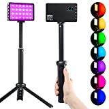RGB LED Video Light with Portable Tripod Stand, 360° Full Color 20 Lighting Effects LED Camera Light, 2500-8500K Dimmable LED Video Light Panel for Portrait Photography Video Conference Recording