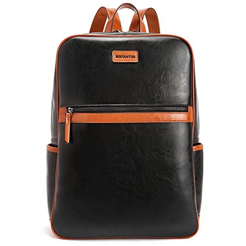 BOSTANTEN Zaino Donna Vera Pelle Elegante Zainetto Cuoio 15.6' Laptop Daypacks Casual Grande Capacità Nero