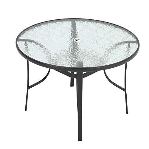 Outdoor Round Dining Table Tempered Glass Top with Parasol Hole for Garden Patio Balcony Backyard Black,105 * 105 * 72cm