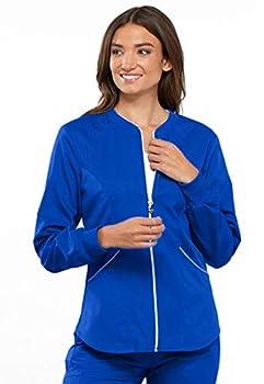 Cherokee Women s Luxe Sport Zip Front Warm-up Jacket Royal XXX-Large