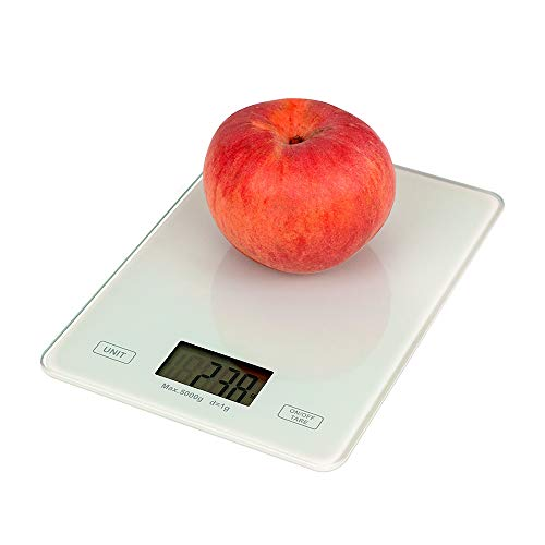 negaor Báscula digital de cocina de 1 g de peso graduado de precisión gramos de vidrio templado para hornear cocina báscula digital