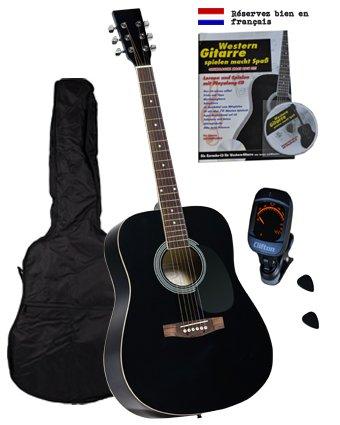 Clifton Western gitaarset, zwart, rozenwood greepbord en brug, leerboek, karaoke-cd, gevoerde tas, clip tuner stemapparaat, 2 stuks plectrums