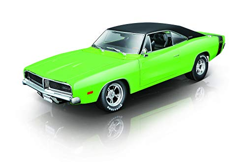 Maisto Dodge Charger R/T '69: Originalgetreues Modellauto 1:18, mit Abgasanlage, bewegliche Türen, Koffer- & Motorraum zum Öffnen, xxxx cm, grün (532612)