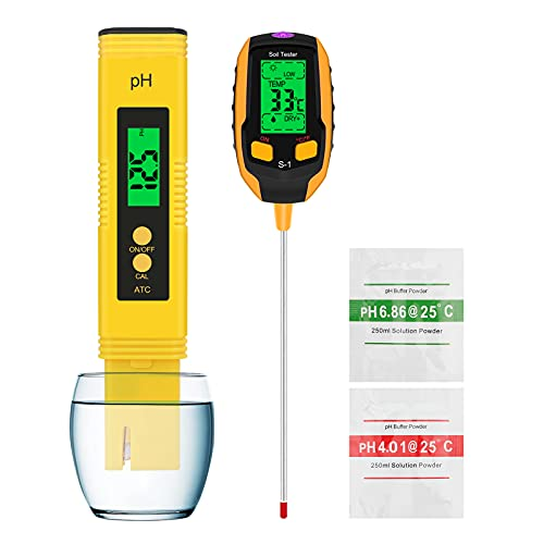 Esimen High-Precision Water Hydroponic PH Meter and 4-in-1 Soil Tester, Light Intensity,Temperature, Soil PH, Humidity Digital Plant Tester, for Gardening, Farming, Home Drinking Water, Pool (Yellow)