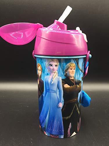 ML Botella de Agua Infantil, cantimplora Botella de Agua de plastico con Pajita para ninos y ninas, cantimplora a Prueba de Fugas para Levar a la Escuela y Deportes el Termo 500ML