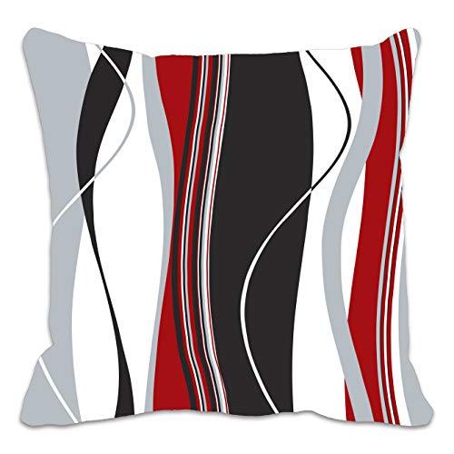 Funda de cojín con estampado de rayas onduladas rojas, negras, blancas y grises; ideal para el salón, el sofá, etc.