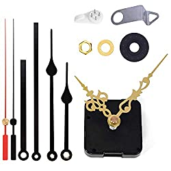 Satisfounder Non-Ticking Hands Quartz DIY Wall Clock Movement Mechanism DIY Repair Parts Replacement with 3 Different Pairs of Hands (45/64 Inch-Gold)