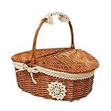 Milopon - Cestino da picnic con coperchio, in vimini intrecciato, stile country, con rivestimento in lino bianco, ideale per picnic, feste