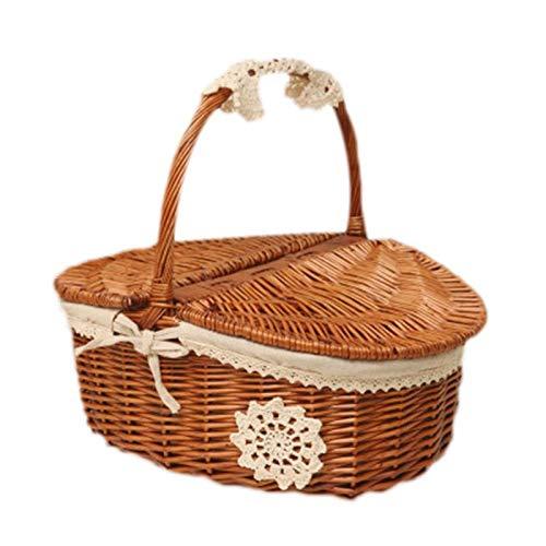 Milopon Picknickkorb mit Deckel Braun Weidenkorb aus Rattan-Korb geflochtenem, Country Style Korb mit weißem Leinenfutter, Präsentkorb für Picknicks Partys