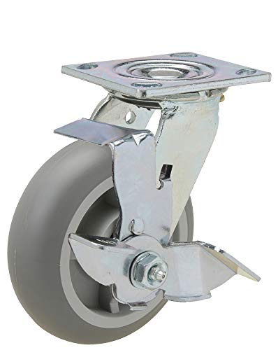 """6x2"""" Swivel Caster with Crowned Non-Marking Thermoplastic Rubber Wheel and Brake with 4x4-1/2"""" Mounting Plate"""
