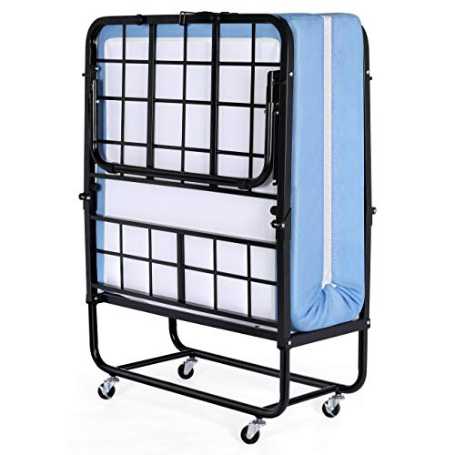 Inofia Folding Bed with 5 inch Memory Foam Mattress and Portable Metal Frame with Wheels-Foldable Extra Guest Bed- Easy Storage-Space Saving-Cot Size-75 inches x 31 inches