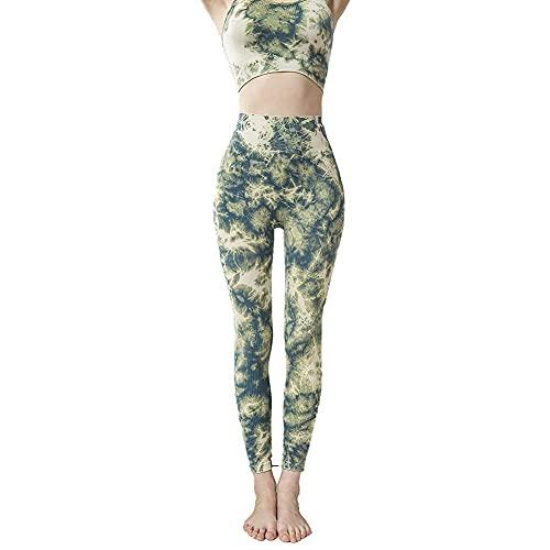ZHZHUANG Trajes sin Fisuras de 2 Piezas Entrenamiento de Yoga Manga de Gimnasio Tops Y Pantalones Conjunto de Mono,Verde,L