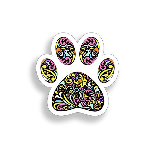 Colorful Pattern Dog Paw Print Sticker Full Color Design K9 Pet Cup Cooler Car Truck Vehicle Window Bumper Vinyl Decal Graphic