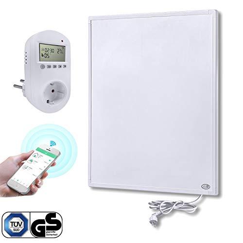 Aufun Infrarot Heizung Wand Panel 300W mit Smart Thermostat Infrarotheizung mit Überhitzungsschutz Stecker für Steckdose ✓ GS TÜV ✓ Kohlekristallheizung, 520x620x15 mm Weiß, für 3-8m² Zimmer