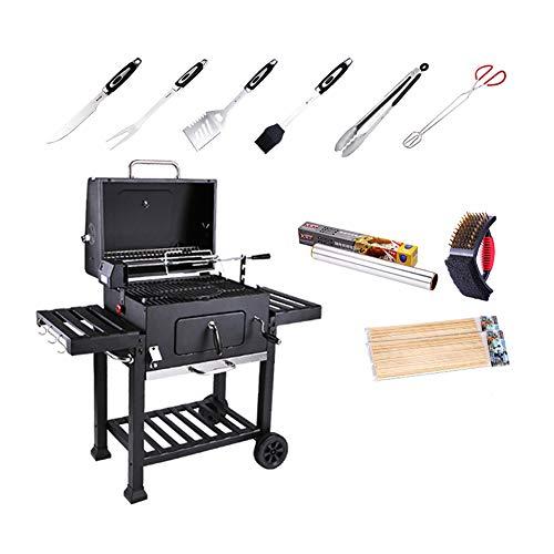 MENG Houtskoolbarbecue, praktische grill, aslade, geschikt voor binnenplaats, terrassen, tuinfeesten, commerciële plaatsen, hoogwaardig (zwart) B1