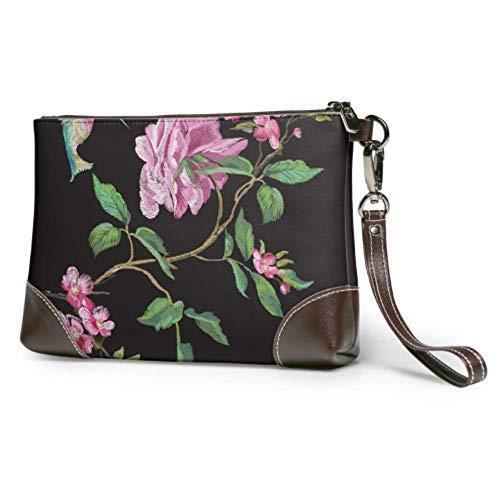 Wristlet Handbag Embroidery Floral Pattern Rose Hummingbird Leather Wristlet Clutch Wallet For Women Wallet Wristlet For Women Smartphone Wristlet Purse