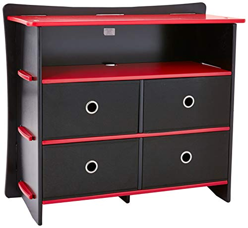 Legaré Kids Furniture Race Car Series Collection, No Tools Assembly 4-Drawer Dresser, Red and Black