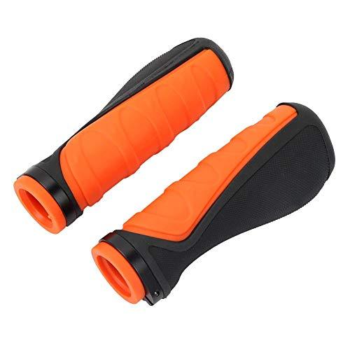 Yosoo Health Gear 1 Pair Anti-Slip Bicycle Handle Grips, Rubber Orange Black Locking Ergonomic Handlebar Grips for Folding Bicycles Single-Speed Bicycles