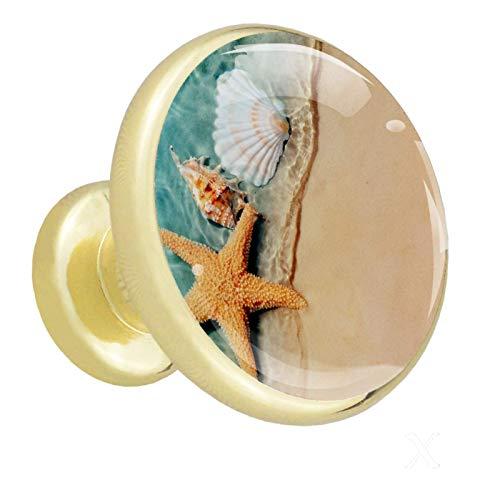 Pomos de Dorado Cristal Concha de estrella de mar RedondoTiradores de Muebles 4 Piezas 32mm Hecho a Mano Pomos para Alacena Baño Cocina Gabinetes Pomos Para Armarios Infantiles