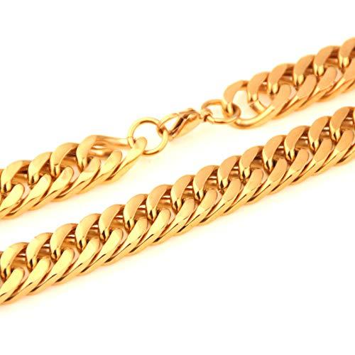 Aeici Collar de Hombre de Acero Ancho 10mm Collar Cubano Cadena Collar Hombre Oro 24 Inch