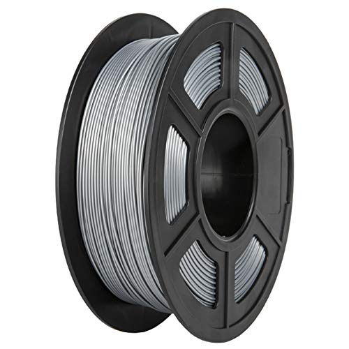 PLA Filament, PRINSFIL Filament PLA 1.75 mm, 3D Printing Materials for 3D Printer, 1 kg 1 Spool,Silver