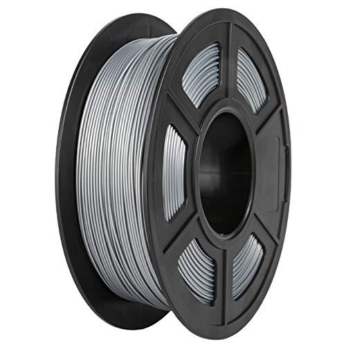 PLA Filament, PRINSFIL Filament PLA 1.75 mm, 3D Printing Materials for 3D Printer, 1 kg 1 Spool, Silver