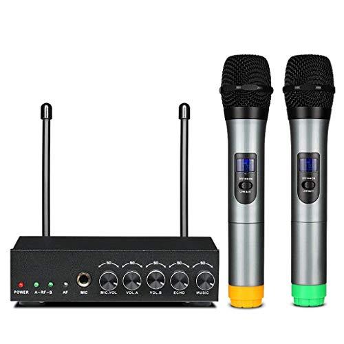 Draagbare karaoke mixer systeem set met dual UHF draadloze microfoon Mini Home TV Computer microfoon draadloze Bluetooth voor karaoke, Home Theater, versterker, luidspreker