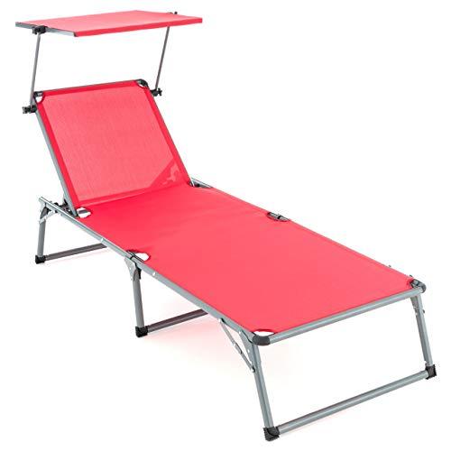 Nexos Sonnenliege XXL mit Dach Rot 192x66x31 cm klappbar 5fach verstellbar Aluminiumrahmen Dreibeinliege Gartenliege Sonnendach groß Gartenstuhl deckchair